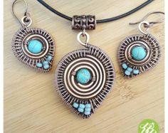 Cable conjunto de joyería de la turquesa, collar de alambre pendientes de turquesa, turquesa alambre, alambre de joyería tribal, conjunto de joyas boho, joyería de alambre de cobre