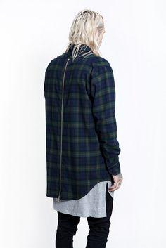 Fear of God L/S Rear Zip Flannel (Blue/Green)