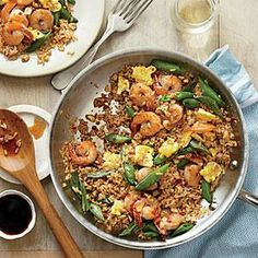 Quick Fried Brown Rice with Shrimp and Snap Peas Recipe | Cooking Light #myplate #protein #veggies #wholegrain