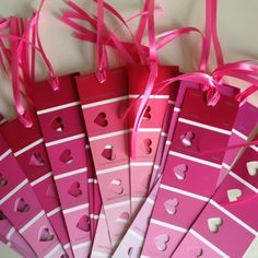 DIY Valentine's Day Keepsake bookmarks made from paint chips! - Not just for valentines day - paint chips can be punched with many shapes - make garlands - etc. Homemade Valentines, Valentines Day Party, Valentine Day Crafts, Be My Valentine, Holiday Crafts, Holiday Fun, Valentine Ideas, Teacher Valentine, Funny Valentine