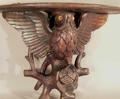 carved wood owl shelf ca. 1910