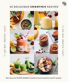 Assortment of vegan smoothies and smoothie bowls Pb And J Smoothie, Papaya Smoothie, Cucumber Smoothie, Yummy Smoothies, Smoothie Drinks, Smoothie Bowl, Vegan Smoothie Recipes, Delicious Vegan Recipes, Vegan Meals