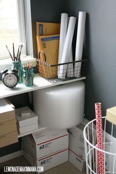 Office Packaging/Mailing Station & Supplies in Home Office A to Z of Vitamin C Article Body: Vitamin Office Setup, Home Office Organization, Office Storage, Office Decor, Office Ideas, Organization Ideas, Ebay Office, Packing Station, Sewing Room Design