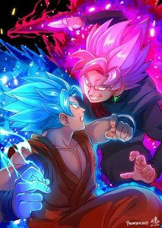 aura blue_hair dougi dragon_ball dragon_ball_super earrings evil_smile eye_contact fighting glowing glowing_eyes gokuu_black jewelry looking_at_another multiple_boys pink_hair ry-spirit smile son_gokuu spiked_hair super_saiyan super_saiyan_blue wristband Dragon Ball Gt, Goku Vs Black Goku, Evil Goku, Super Anime, Goku Super, Fanart, Animes Wallpapers, Deviantart, Pink Shirts