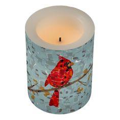 Christmas Cardinal bird collage Flameless Candle