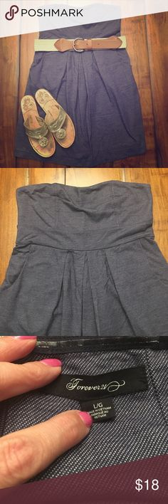 Forever 21 cotton dress with belt! Who doesn't love an adorable dress with pockets? Seriously! Super comfy dress that comes to mid thigh (I'm 5'4) only worn once, I'll even throw in the belt because it's such a perfect match. Looks like denim! Forever 21 Dresses Mini
