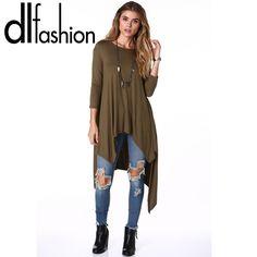 2016 Spring summer new big size blouse fashion irregular solid loose long female…