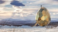 Completed in 2017 in Kiruna, Sweden. Images by Jean-Baptiste Béranger. Solar Egg is an oval sauna created by the internationally renowned artists Mats Bigert and Lars Bergström. It draws inspiration from Kiruna's Arctic.