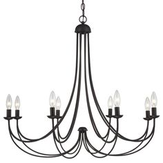 """View the Quoizel MRN5008 Mirren 8 Light 32"""" Wide Candle Style Chandelier at LightingDirect.com."""