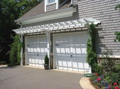 House Garage With White Pergola : Garage Pergola For Exciting Focal Point