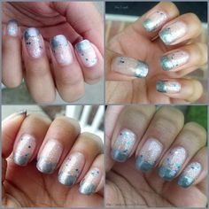 A glittery base with silver tips. Nail polishes used: NYC Starry Silver Glitter & Revlon Smoldering