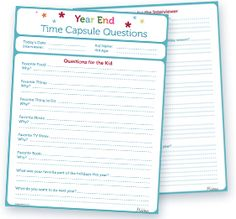 Printable End of the Year Time Capsule Questionnaire for the Kids