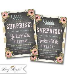 Surprise Party Invitations Birthday Printable Invites Adult