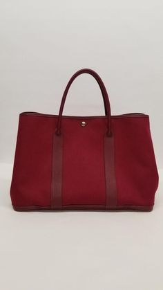 HERMES Authentic Maroon Red Canvas - Leather  Garden Party GM  Satchel Tote  Bag   dff885bf71ae9