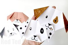 How to make Easy Origami Dog - quick and easy craft for kids. Love that all you need is a sheet of A4 paper, it is quick to turn into this cute paper dog!