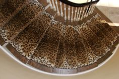 non geometric works great on round staircases leopard stair runners