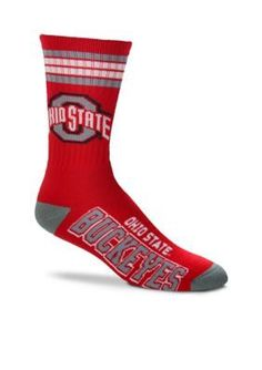 FBF Originals Red Ohio State Buckeyes 4 Stripe Deuce Performance Crew Socks - Single Pair