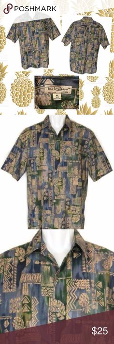 Tori Richard Hawaiian Shirt M Blue Beige Aloha! Aloha! Escape to the islands without leaving home in this handsome tropical Hawaiian print Tori Richard button front shirt. It's fine 100% cotton in a blue, green and beige geometric print with pineapples the symbol of island hospitality. Perfect for a Jimmy Buffett concert! Mens Size M. Excellent, Gently Preowned condition! Made in Hawaii, USA  24 inches across chest 31 1/4 inches from top of garment to bottom of hem  10x14  150522-33-5 Tori…