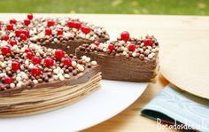 Tarta de obleas chocolateada