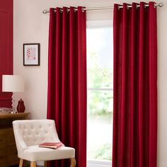 Faux Suede Claret Red Eyelet Luxury Curtain | Red curtains, Living ...
