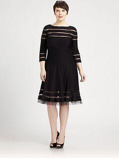 Tadashi Shoji, Sizes 14-24 - Pintucked Dress - Saks.com