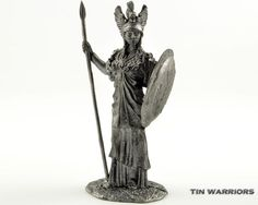Greek goddess Athena metal sculpture. Collection 54mm 1/32 miniature figurine. Tin toy soldiers shop