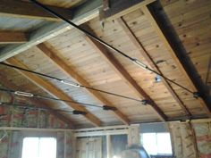 faux wood beams with turnbuckles Steel Trusses, Roof Trusses, Attic Truss, Timber Ceiling, Ceiling Beams, Ceilings, Roof Truss Design, Open Basement, Exposed Rafters