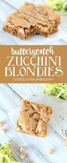 Recipe for rich and chewy butterscotch zucchini blondies. Sure to become a new favorite zucchini recipe! Browned butter makes these bars extra tasty! via creationsbykara.com
