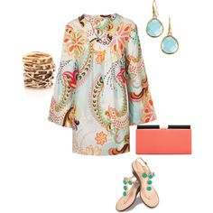 Lovely beach outfit for @Lily Kelley! Only 582 bucks for everything...well minus the bracelets that at a ridiculous 14k!!!
