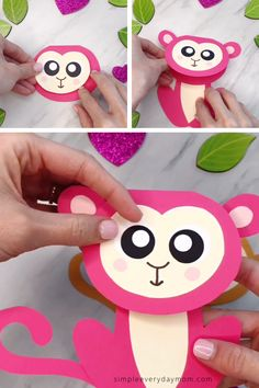 Cute Monkey Craft For Kids (With Free Printable Template) Monkey Crafts, Sheep Crafts, Bunny Crafts, Easy Paper Crafts, Crafts For Kids To Make, Fun Crafts For Kids, Monkey Template, Free Monkey, Pink Paper