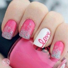 Looking for new nail art ideas for your short nails recently? These are awesome designs you can realistically accomplish–or at least ideas you can modify for your own nails! - Credits to the owner of the image - Fancy Nails, Diy Nails, Cute Nails, Pretty Nails, Glitter Nails, Pink Glitter, Pink Sparkly, Sparkly Nails, Simple Nail Art Designs