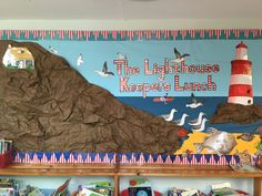 Lighthouse Keepers Lunch @ LPS Ks1 Classroom, Classroom Themes, School Displays, Classroom Displays, Nautical Bulletin Boards, Lighthouse Keepers Lunch, Literacy Display, Lighthouse Storm, School Hallways