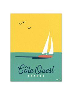 """€19 . Affiche Marcel Small Edition - Série Côte Ouest """"BOAT"""" . Papier 250g/m² Couché Mat"""