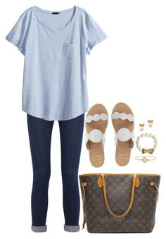 """""""Untitled #785"""" by classycathleen ❤ liked on Polyvore featuring Frame Denim, H&M, Jack Rogers, Louis Vuitton, Marc by Marc Jacobs and Kate Spade"""