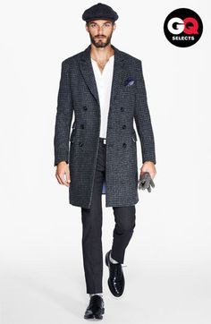 Michael Bastian Double Breasted Houndstooth Top Coat. #Nordstrom #GQSelects #men