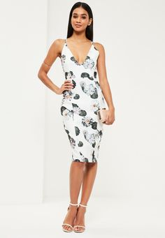 Missguided - White Floral Strappy Midi Dress