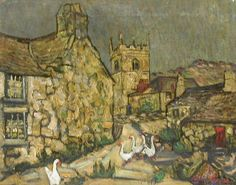 """""""Zennor Town, Cornwall,"""" Richard Hayley Lever, ca. 1910, oil on canvas, 15 7/8 x 20"""", private collection."""