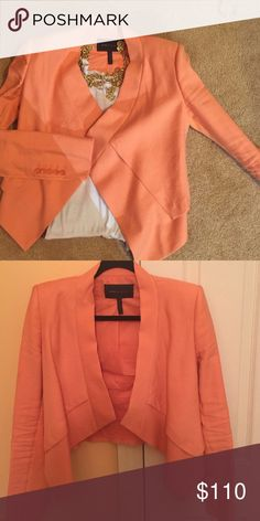 BCBG draped linen blazer Light weight chic salmon color blazer. Looks awesome with white pants or dark jeans BCBGMaxAzria Jackets & Coats Blazers