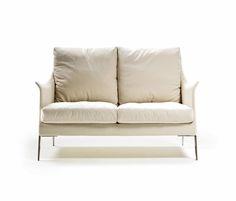 Flexform's Boss Loveseat.  #flexform #loveseat #leather #white #sofa #couch