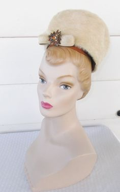 1960s Vintage Beehive Pill Box Hat Cream Color by MyVintageHatShop