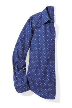 Hot Summer Fashion That Won't Burn Your Budget: Question: What's better than a versatile blue button-down? Answer: One with the sweetest swiss-dot print.  Shirt, $49.95 (up to size XL), $54.95 (sizes 1X to 3X); llbean.com.