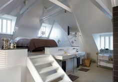 i love the idea of a 'loft' style bedroom but not too sure about the bathroom being so close