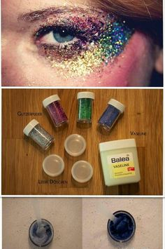 The words are in German, but it says: Glitter, Vasiline, and Empty Bottles- apply glitter w/ Vasiline