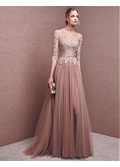Buy discount Marvelous Tulle Bateau Neckline Half Length Sleeves Slit A-line Evening Dresses With Lace Appliques & Sash at Dressilyme.com