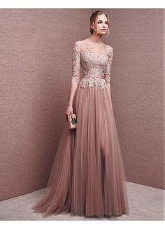 Buy discount Marvelous Tulle Bateau Neckline Half Length Sleeves Slit A-line Evening Dresses With Lace Appliques & Sash at Dressilyme.com
