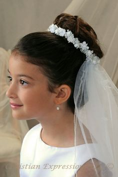 first communion veils bun wrap   First Communion Veils Satin flower and pearl wreath with ribbon and ...
