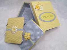 Wedding Vow Book Set  Yellow and Gray with by TheMemoryKeeperShop