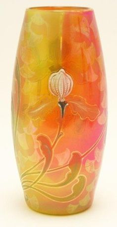 MOSER HAND PAINTED 10.5 INCH GLASS VASE