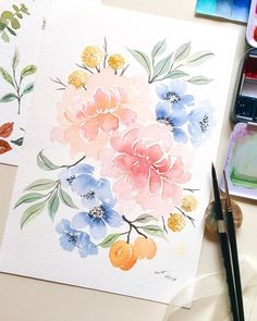 Finally able to paint decent flower arrangement on this beautiful Heritage. Along with black velvet, this is… Easy Watercolor, Watercolour Tutorials, Watercolor Artists, Watercolor Cards, Abstract Watercolor, Watercolor Illustration, Watercolor Flowers, Watercolor Paintings, Watercolors