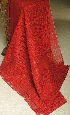 Warm Red shade Silk Cotton Jamdani from MIDRAAR